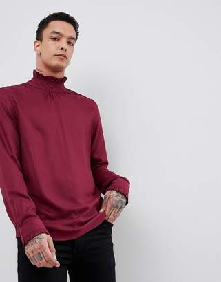 Asos DESIGN Regular Fit Overhead Shirt With Ruffle Neck