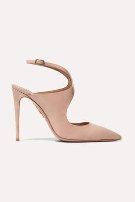 Aquazzura Talana 105 Cutout Patent-leather Slingback Pumps - Blush