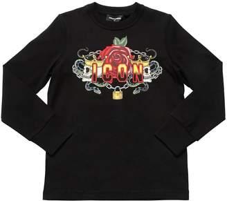 DSQUARED2 Skulls & Rose Jersey Long Sleeve T-Shirt