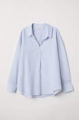 H&M Oversized Linen-blend Shirt - Blue