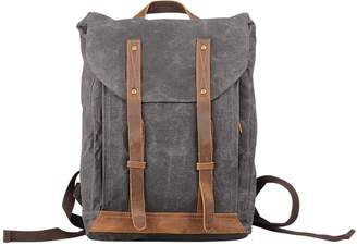 EAZO - Leather Straps Waxed Canvas Backpack Grey
