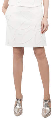 Akris Punto Tropical-Floral 3-D Mesh A-Line Jersey Skirt