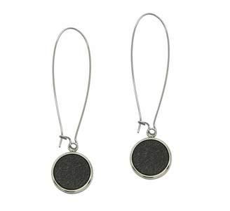 N'Damus London - Silverdale Brown Leather & Steel Drop Earrings