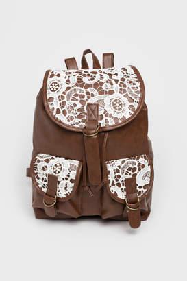 Ardene Faux Leather Crochet Backpack