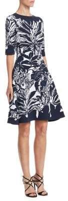 Oscar de la Renta Leaf-Print Cocktail Dress