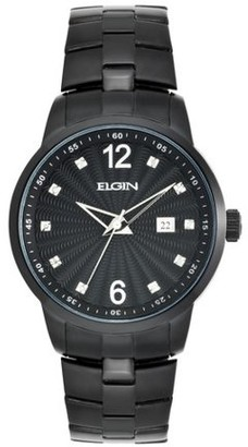 Elgin Men's Brass and Stainless Steel Watch with Diamond Accents