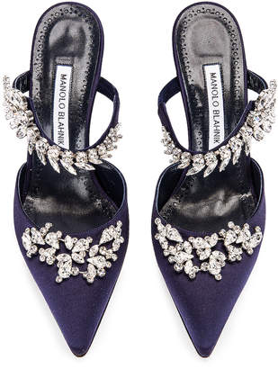Manolo Blahnik Lurum 90 Mule in Navy Satin | FWRD