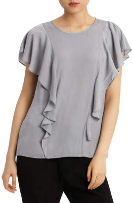 Ruffle Front Bruised Poly Top