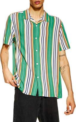Topman Slim Fit Stripe Camp Shirt