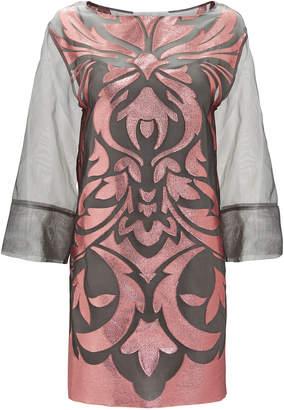 Alberta Ferretti Rose Grey Organza Mini Dress