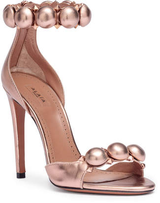 Alaia Bronze metallic leather bomb sandals