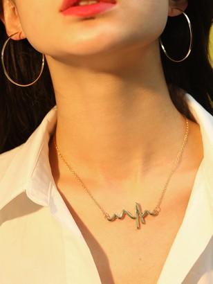 Shein Heartbeat Pendant Necklace & Earrings 3pcs