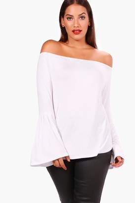 boohoo Plus Kirsten Off The Shoulder Tunic Top