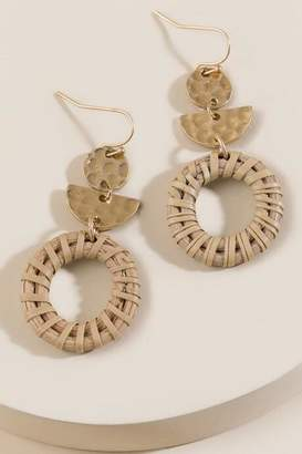 francesca's Lucy Rattan Circle Drop Earrings - Natural