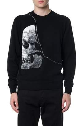 Alexander McQueen Black Wool Skull Knitwear