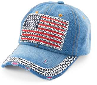 Chaps Women's Bling American Flag Baseball Cap