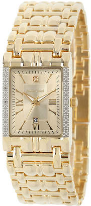 JCPenney FINE JEWELRY Personalized Dial Mens Diamond-Accent Square Gold-Tone Watch