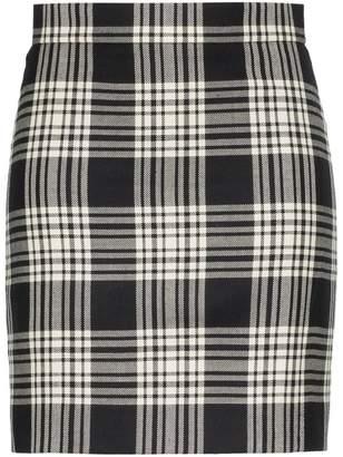 House of Holland x WOOLMARK check print high-waisted woollen skirt