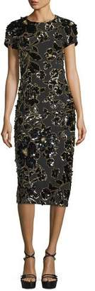 Michael Kors Embroidered Crewneck Sheath Dress