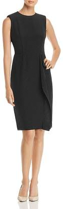 Paule Ka Front Drape Polka Dot Slik Dress