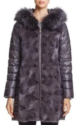 Maximilian Furs Mink Fur Trim Down Coat with Fox Fur Hood