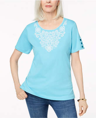 Alfred Dunner Embroidered Cutout-Sleeve Top