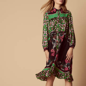 Sandro Floral print dress with a shirt collar
