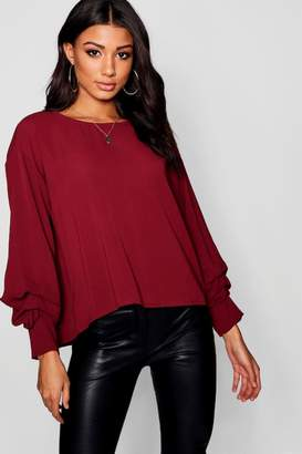 boohoo Ruched Sleeve Button Back Blouse