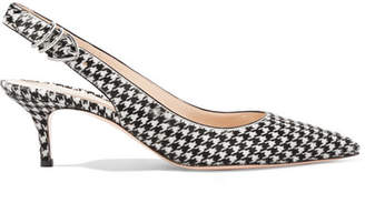 Gianvito Rossi 65 Houndstooth Calf Hair Slingback Pumps - Black
