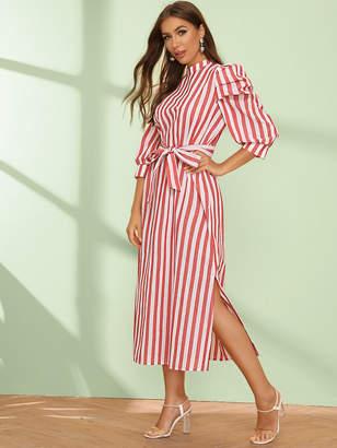 Shein Mock Neck Puff Sleeve Split Hem Belted Striped Dress