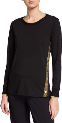 Donna Karan Metallic Trim Snap-Button Long-Sleeve Tee