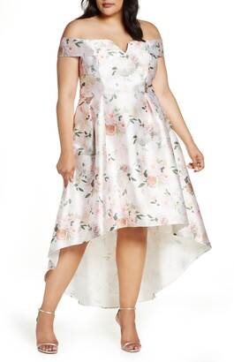 Chi Chi London Meera Off the Shoulder High/Low Dress