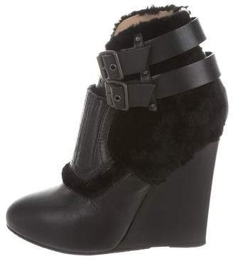 Proenza Schouler Shearling-Accented Wedge Booties
