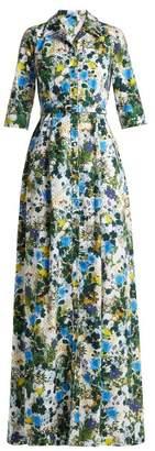 Erdem Karissa Mariko Meadow Print Cotton Shirtdress - Womens - Blue Print