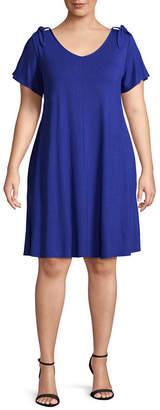 Boutique + + Short Sleeve Swing Dresses - Plus