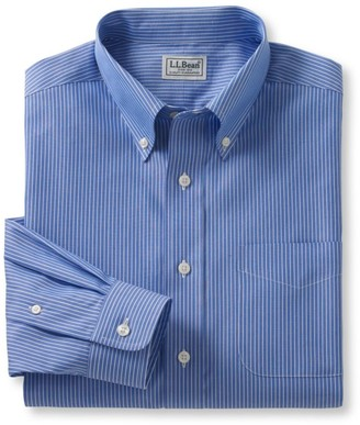 L.L. Bean L.L.Bean Men's Wrinkle-Free Pinpoint Oxford Cloth Shirt, Slightly Fitted Stripe