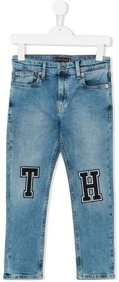 Tommy Hilfiger Junior logo patch fitted jeans