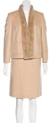 Max Mara Pianoforte di Fur-Trimmed Camel Skirt Suit