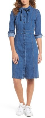 Women's Madewell Denim Tie Neck Shirtdress $138 thestylecure.com