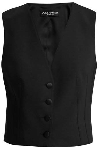 Satin-back cropped wool-blend waistcoat