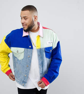 Asos Design X Glaad& Plus Denim Jacket In Colour Block