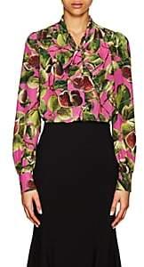 Dolce & Gabbana Women's Fig-Print Silk Tieneck Blouse - Pink