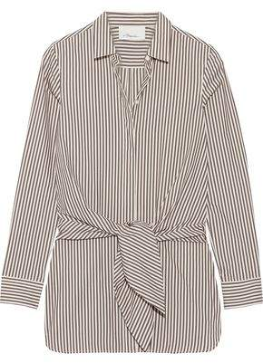 3.1 Phillip Lim Tie-Front Striped Cotton And Silk-Blend Oxford Shirt