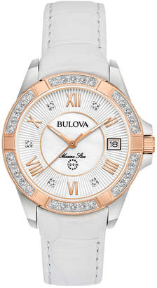 Bulova Women's Diamond Accent Marine Star White Leather Strap Watch 32mm 98R233 $495 thestylecure.com