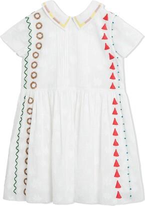 Burberry Peter Pan Collar Embroidered Cotton Dress