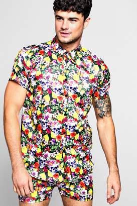 boohoo Floral Skull Short Sleeve Satin Shirt