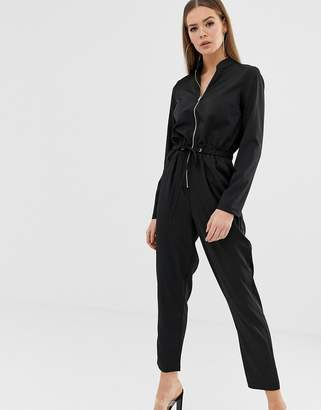 Missguided utility zip front jumpsuit in black