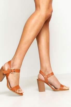 boohoo Wide Fit Wooden Block Heel Sandals