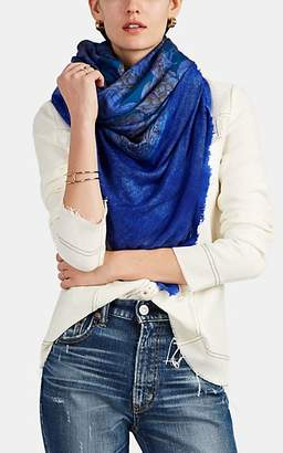 Avant Toi Women's Classic Floral Silk Foulard & Cashmere-Silk Scarf - Blue