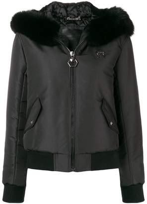 Philipp Plein fox fur trim bomber jacket